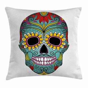 Sugar Skull Mexican Ornaments Square Pillow Cover
