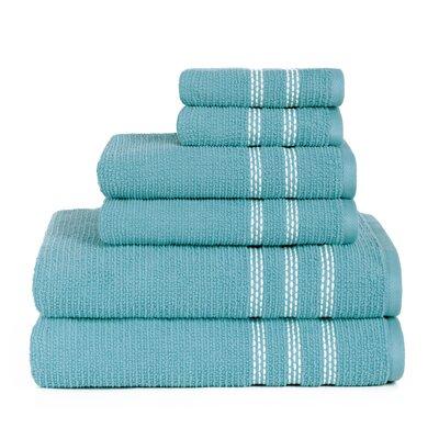 Boehm 100% Cotton Manor Jackson 6 Piece Bath Towel Set Breakwater Bay Color: Aqua