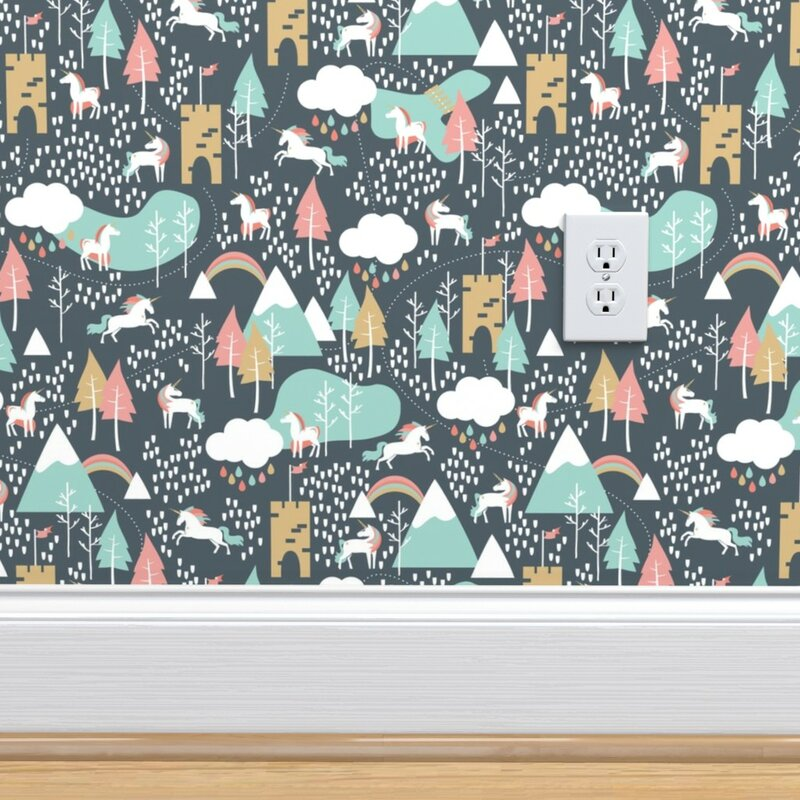 Ebern Designs Paulikens Tiny Unicorn Removable Peel And Stick Wallpaper Roll Wayfair