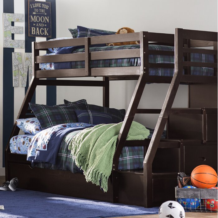 Viv Rae Reece Twin Over Full Bunk Bed With Storage Ladder And