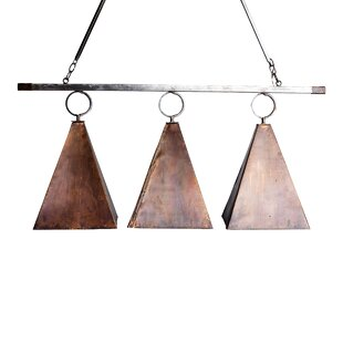 Oldfield Copper Pyramid 3-Light Island Pool Table Light by Lowcountry Originals