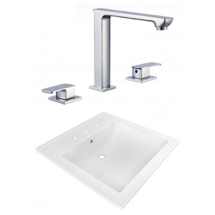 Best Reviews Ceramic Rectangular Drop-In Bathroom Sink with Faucet and Overflow ByAmerican Imaginations