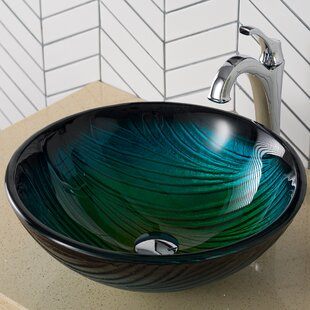 Find for Nature Series Glass Circular Vessel Bathroom Sink with Faucet By Kraus