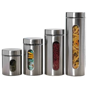 Superior Wayfair Basics 4 Piece Stainless Steel Kitchen Canister Set