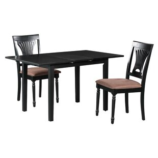 Fontinella 3 Piece Extendable Solid Wood Dining Set