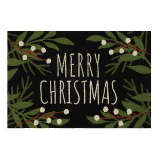 Best Carrizal Merry Christmas Wool Black/Green Area Rug By The Holiday Aisle