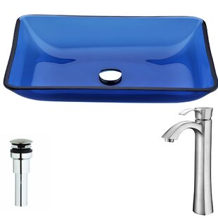 ANZZI Harmony Glass Rectangular Vessel Bathroom Sink with Faucet