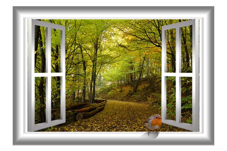 East Urban Home 3D Bird Nature Window Wall Decal | Wayfair