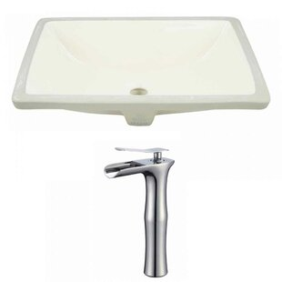 American Imaginations CUPC Ceramic Rectangular Undermount Bathroom Sink with Faucet and Overflow