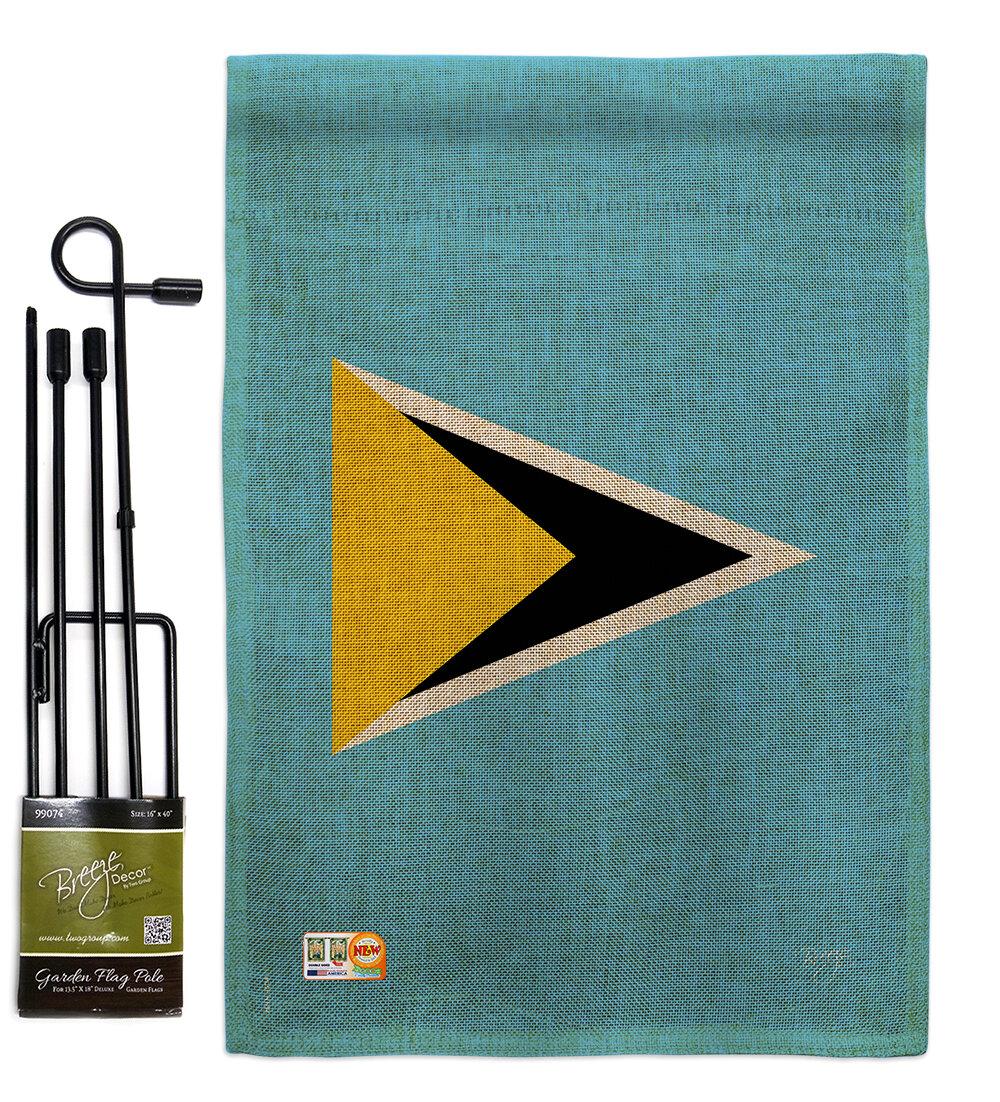 Breeze Decor Saint Lucia The World Nationality Impressions 2 Sided Burlap 19 X 13 In Flag Set Wayfair