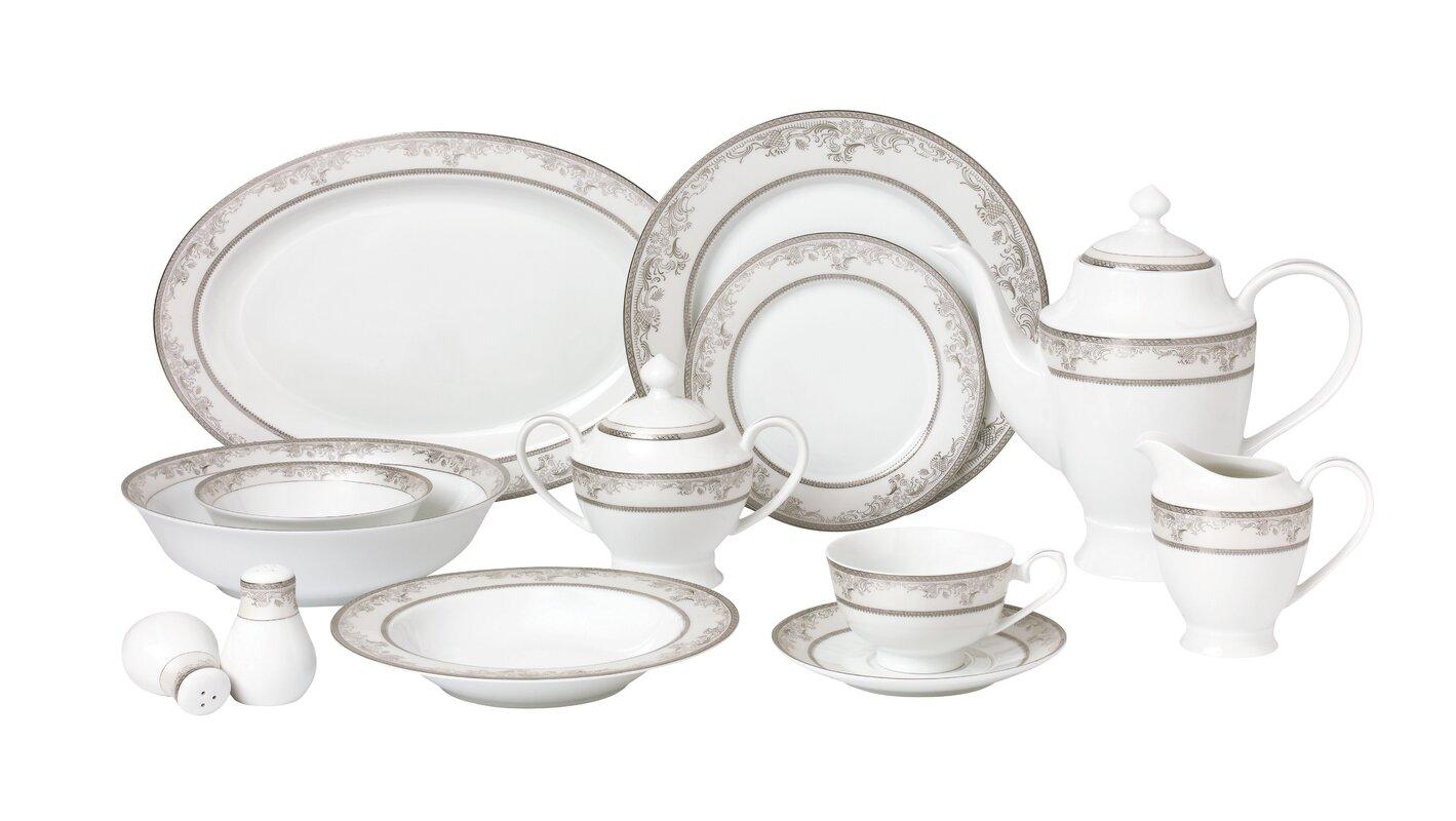 La Luna Bone China 57 Piece Dinnerware Set Service for 8  sc 1 st  Wayfair & Lorren Home Trends La Luna Bone China 57 Piece Dinnerware Set ...