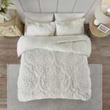 Kennesaw 3 Piece Tufted Cotton Chenille Damask Duvet Cover Set