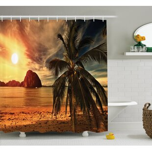 Tropic Coconut Palm Tree Beach Single Shower Curtain