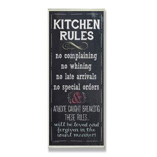 Kitchen Rules Chalkboard Look Textual Art On Wood
