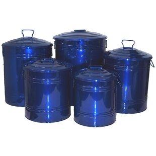 Houston International 5 Piece Galvanized Enameled Manual Lift Recycling Bin Set