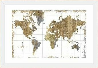 Williston Forge 'Gilded Map' Graphic Art Print Size: 16 H x 24 W x 1 D, Format: White Frame