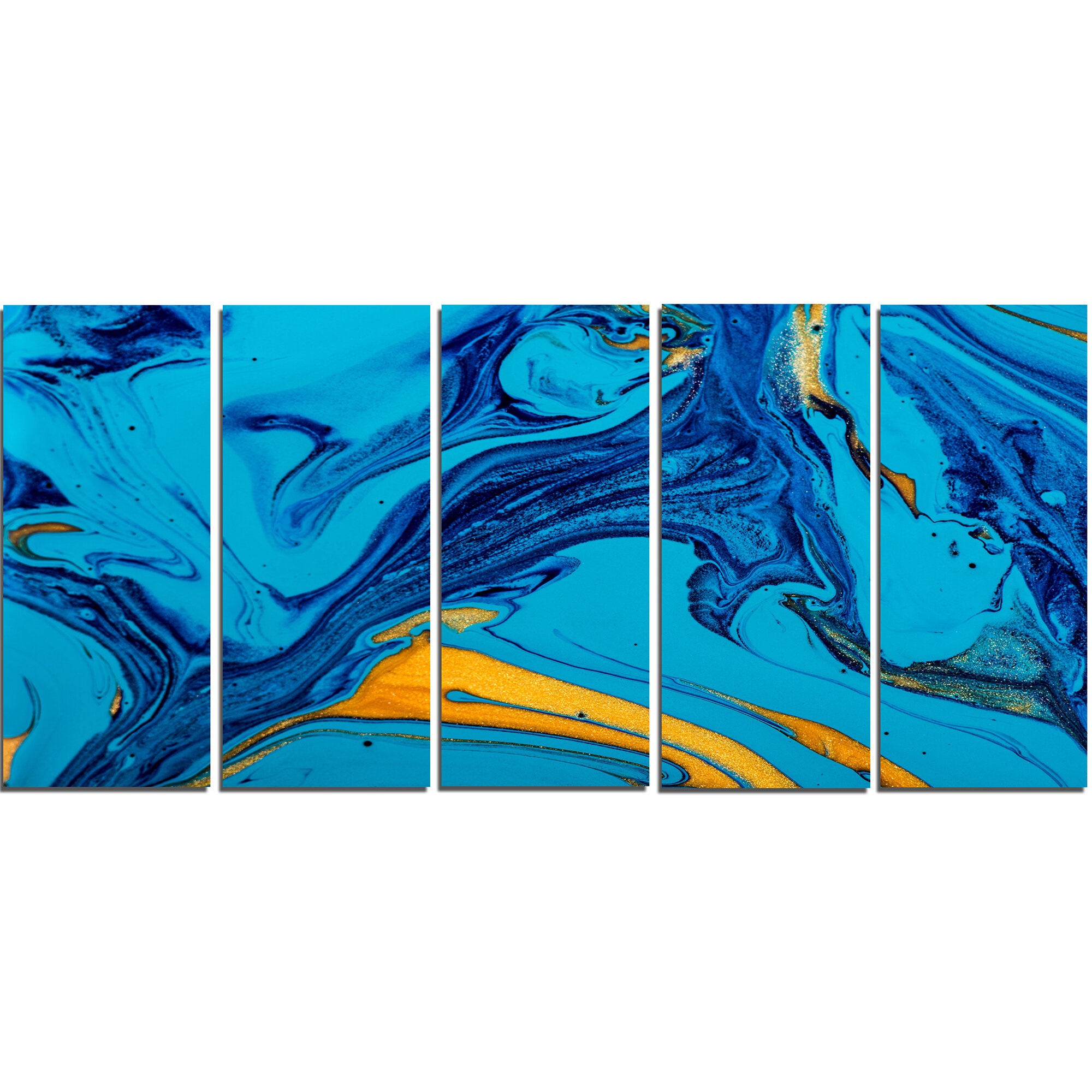 Designart Soft Blue Abstract Acrylic Paint Mix 5 Piece Wall Art On Wrapped Canvas Set Wayfair