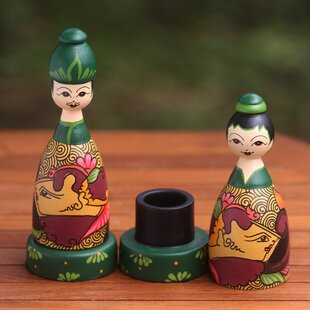Novica Bride and Groom Wood Toothpick Holders