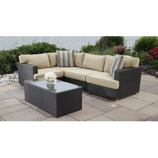Salina 5 Piece Rattan Sectional Seating Group with Cushions