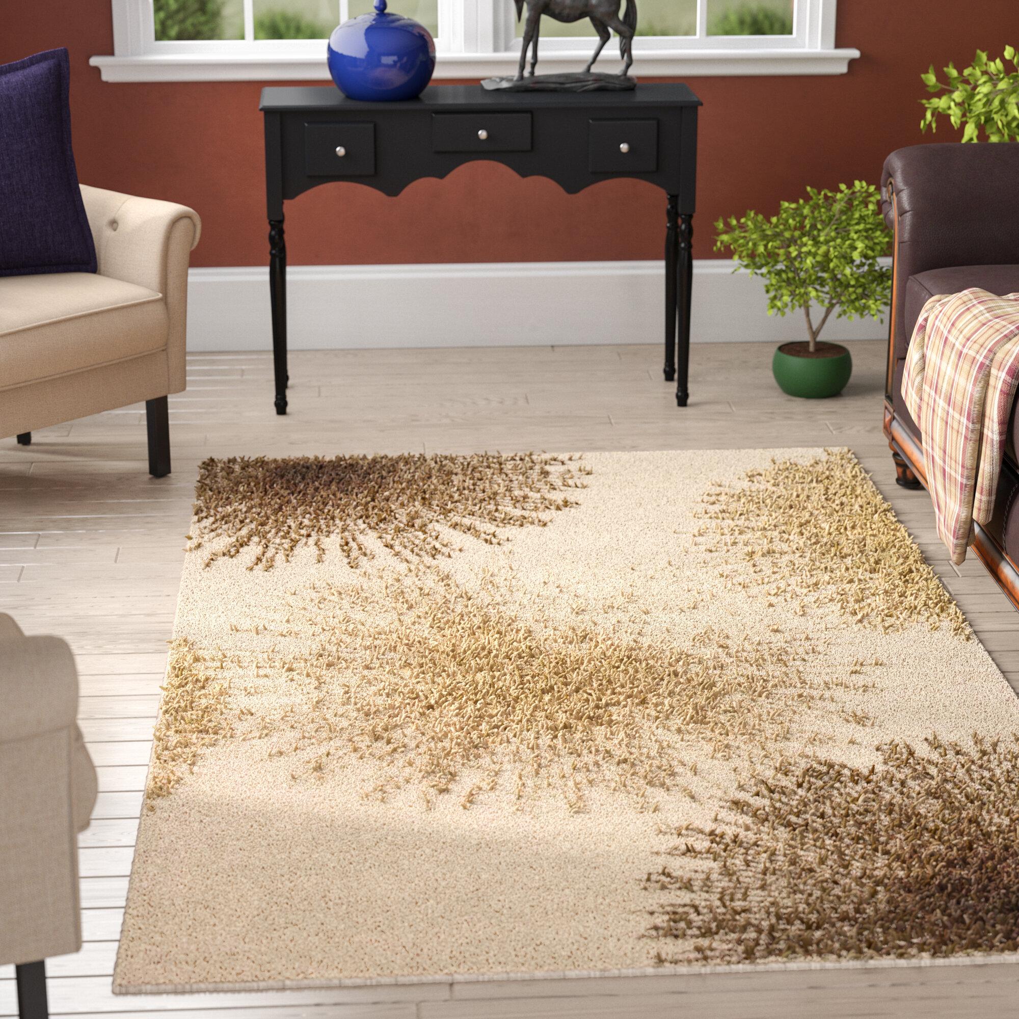 Ebern Designs Chidi Hand Tufted Wool Beige/Brown/Gold Area Rug