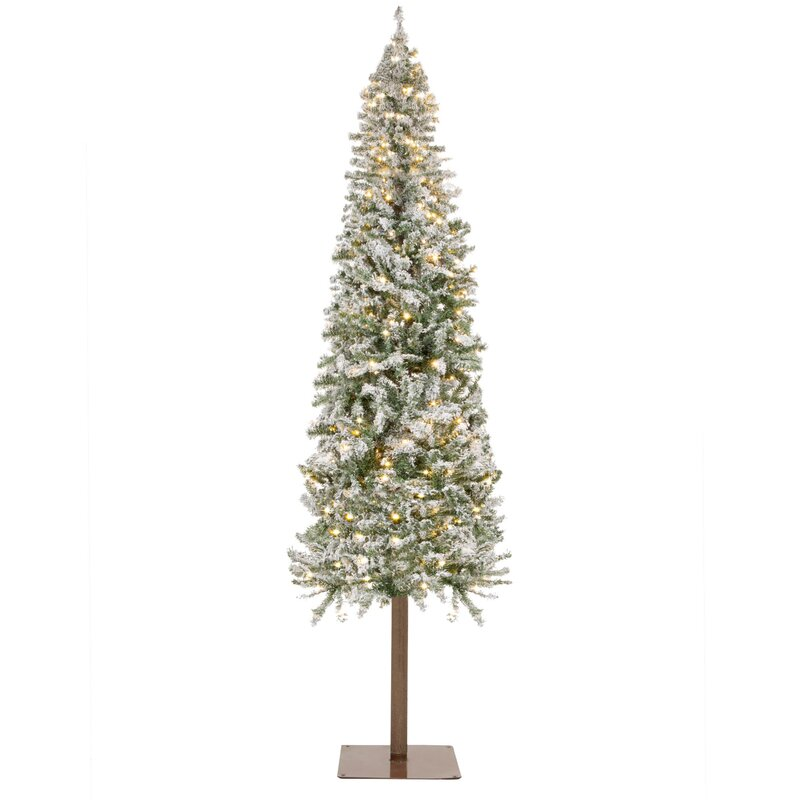 6ft Snow Frosted Christmas Tree Foldable Pre-lit Flocked Decorative Warm Lights