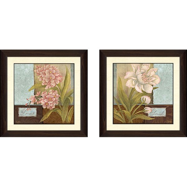Inspirational Flower\' 2 Piece Framed Acrylic Painting Print Set ...