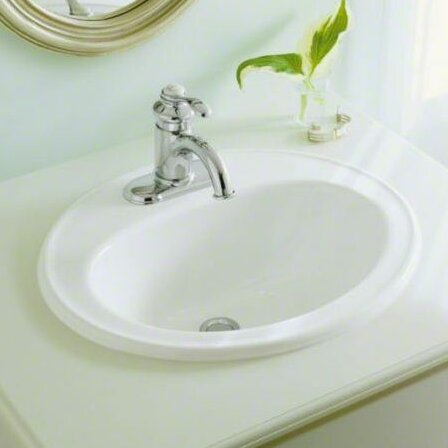 Pennington Ceramic Oval Drop-In Bathroom Sink with Overflow