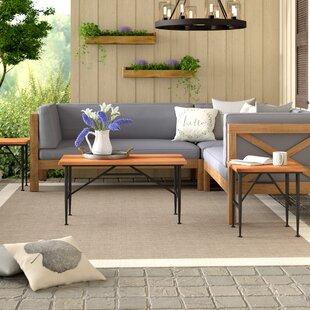 Gracie Oaks Cabarley Outdoor Wood 3 Piece Coffee Table Set
