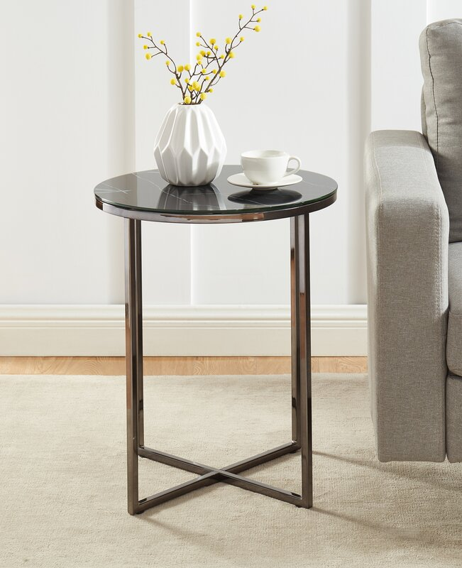 Everly Quinn Hasler Tray Top Cross Legs End Table