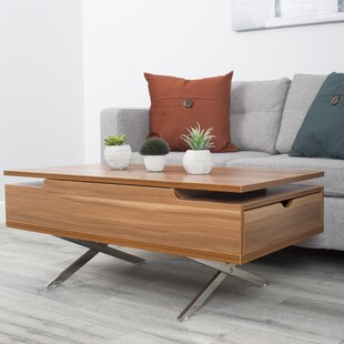 Compare prices Denson Melamine Veneer Wood Hidden Storage Lift Top Coffee Table By Wrought Studio