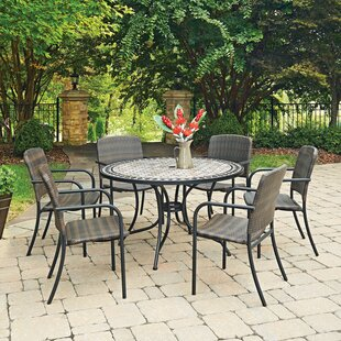 Home Styles Marble Top Round 7 Piece Dining Set