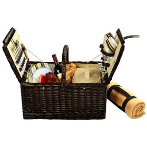 Surrey Picnic Basket  with Blanket and Coffee Flask for Two