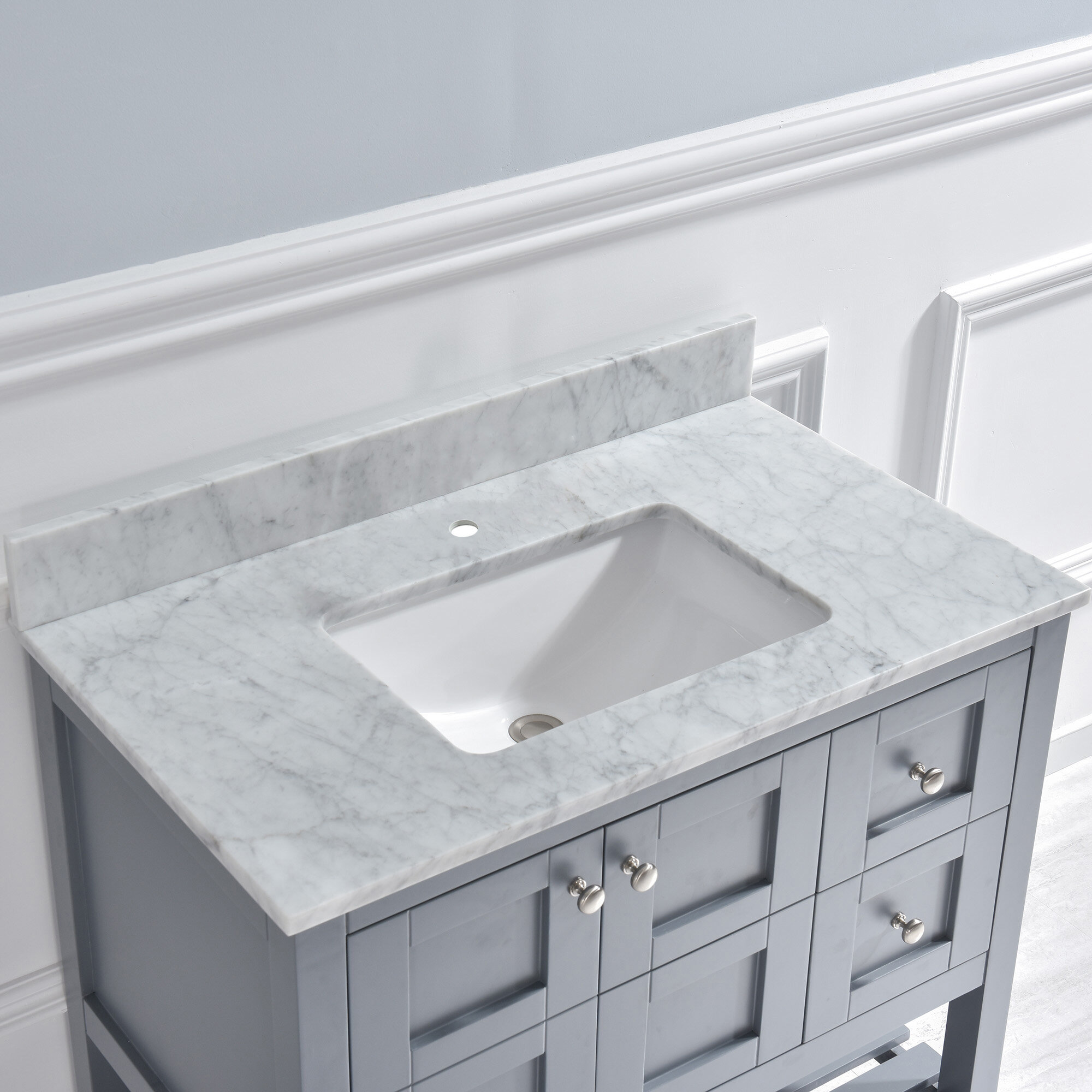 Woodbridge 43 Single Bathroom Vanity Top In Carrara Marble With Sink Reviews Wayfair