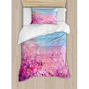 Watercolor Flower Home Sakura Blossom Floral Beauty with Sky Japanese Cherry Spring Theme Duvet Cover Set
