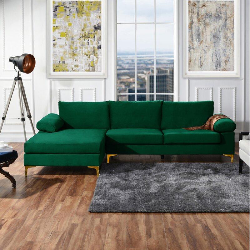"Mercury Row Martello 101"" Wide Velvet Left Hand Facing Sofa & Chaise"