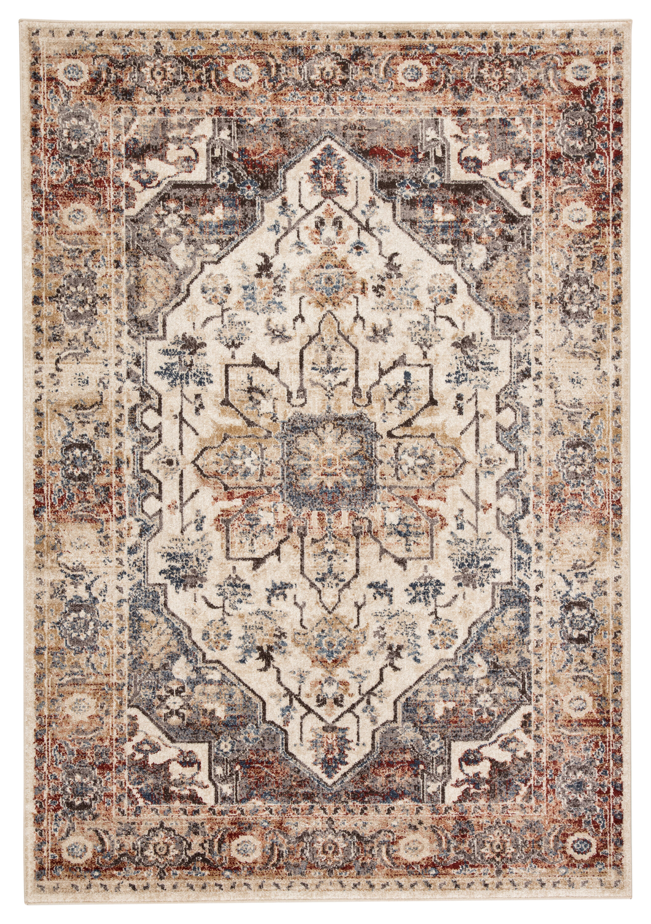 World Menagerie Bexhill Medallion Gray Beige Area Rug Reviews