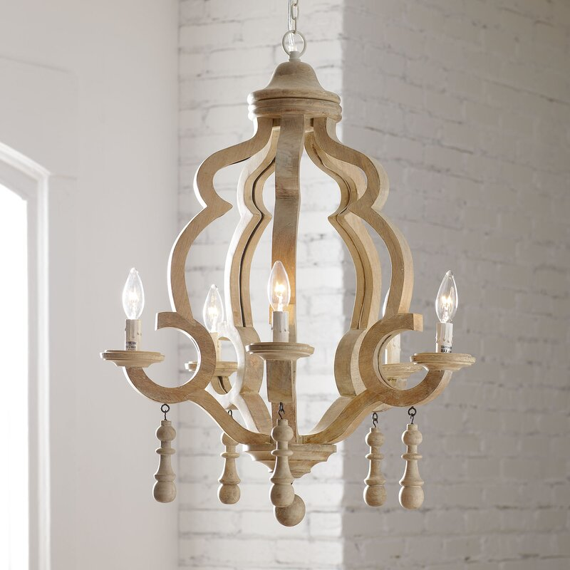 Scrubbed Wood 5-Light Candle-Style Chandelier