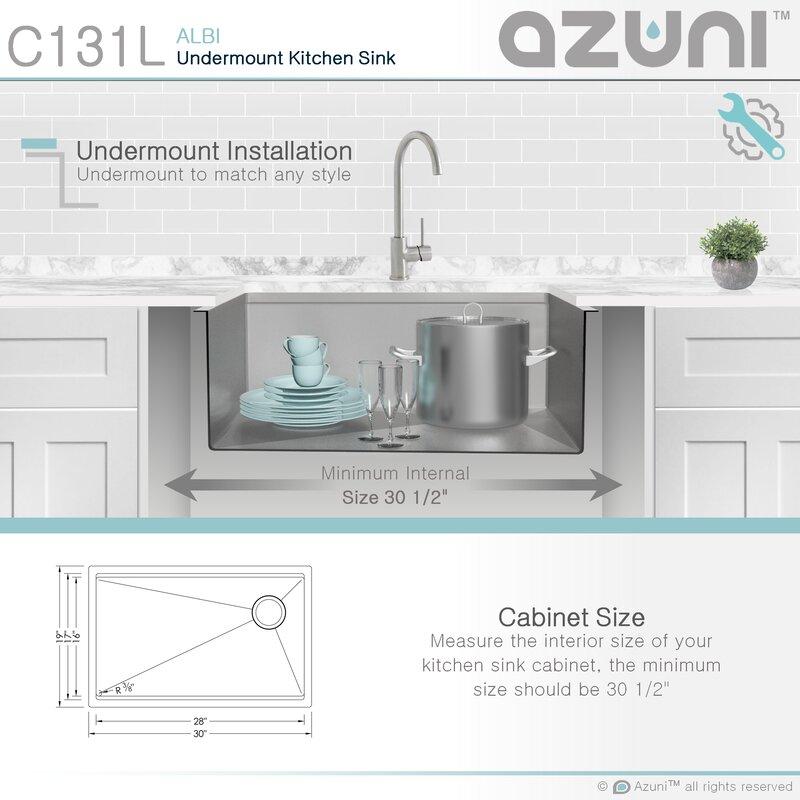 Azuni 30 L X 19 W Undermount Kitchen Sink With Basket Strainer Reviews Wayfair