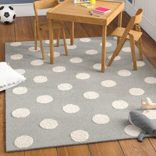 Brenner Hand Tufted Wool Gray Ivory Polka Dots Area Rug
