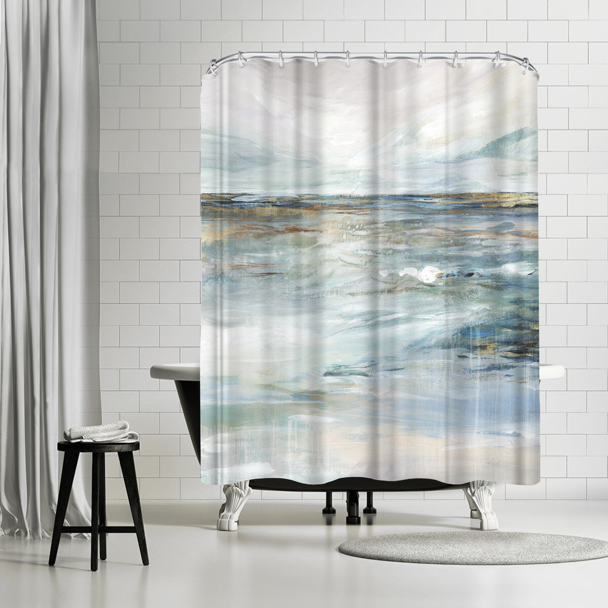 East Urban Home Pi Creative Art Midnight Clear Ii Single Shower Curtain Wayfair
