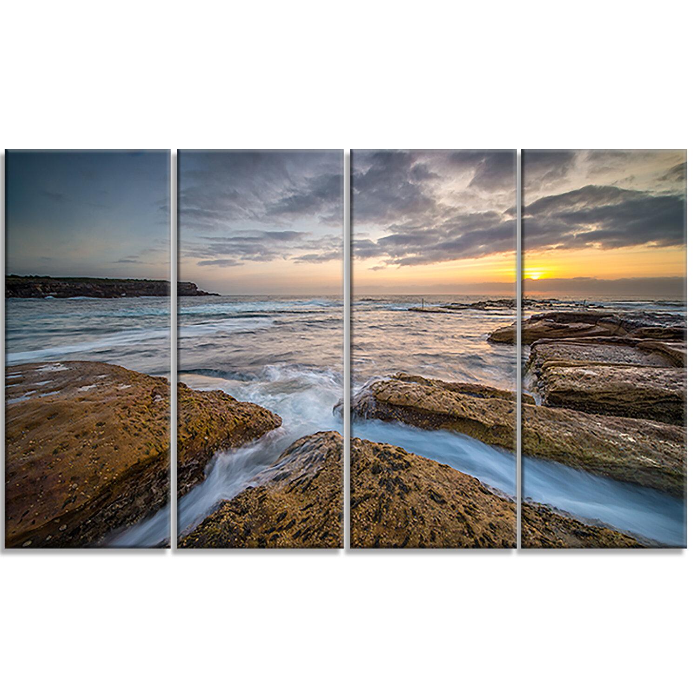 Designart Bright Sydney Coastline View 4 Piece Wall Art On Wrapped Canvas Set Wayfair