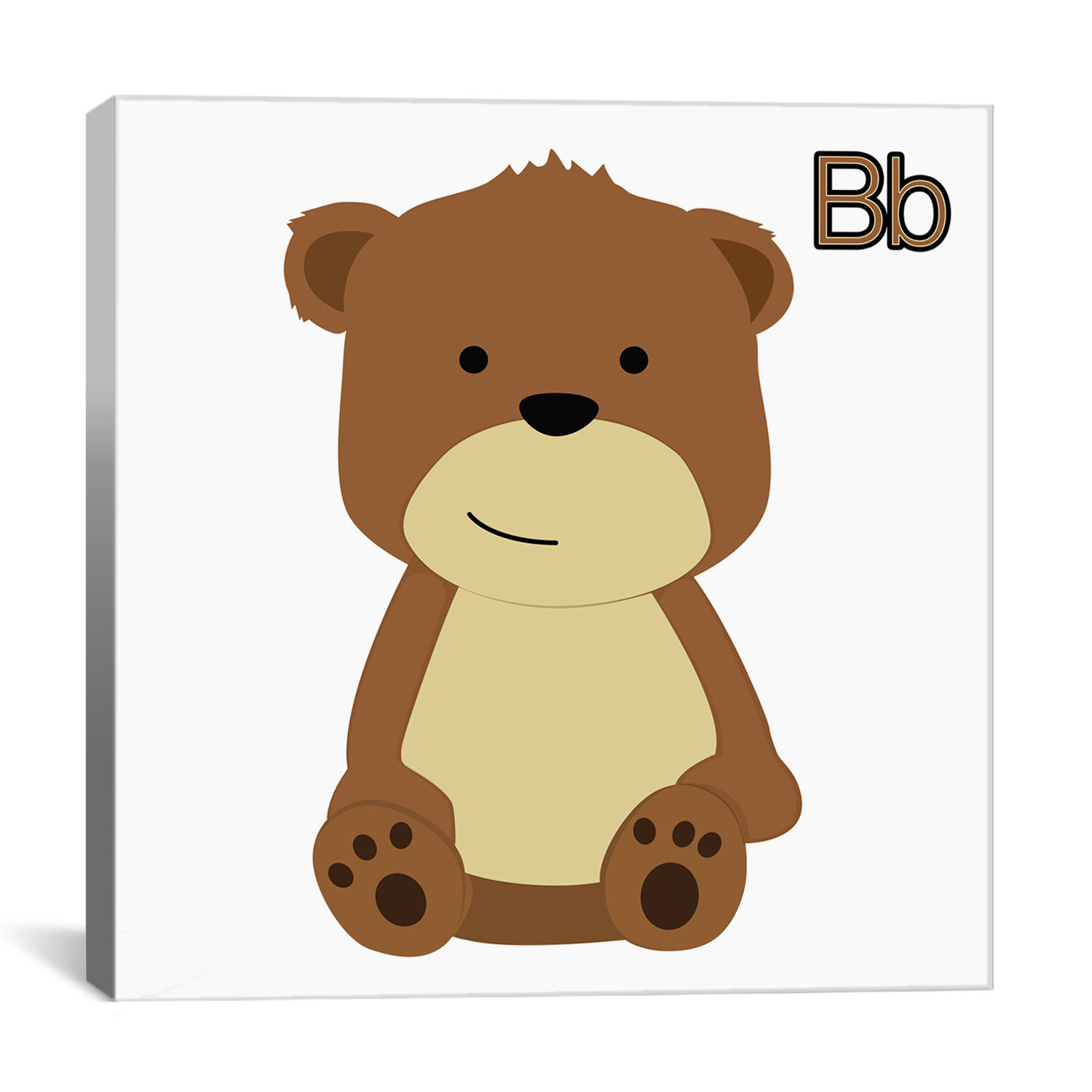Zoomie Kids Nathan B Is For Bear Wrapped Canvas Print Wayfair