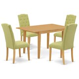 Keiu 5 Piece Extendable Solid Wood Dining Set by Winston Porter