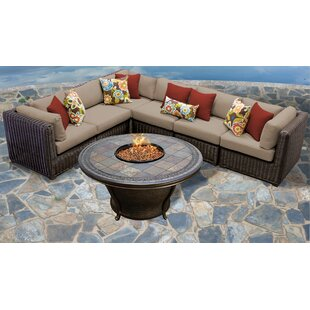 Mejia 7 Piece Outdoor Sectional Seating Group with Cushions by Rosecliff Heights