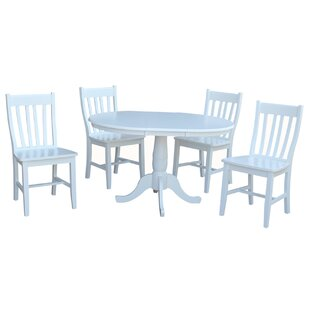 Petra Extendable Pedestal 5 Piece Solid Wood Dining Set August Grove