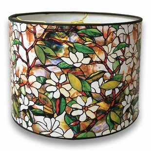 Stained glass lamp shades only wayfair magnolia stained glass printed designer hard back 10 paper drum lamp shade aloadofball Image collections