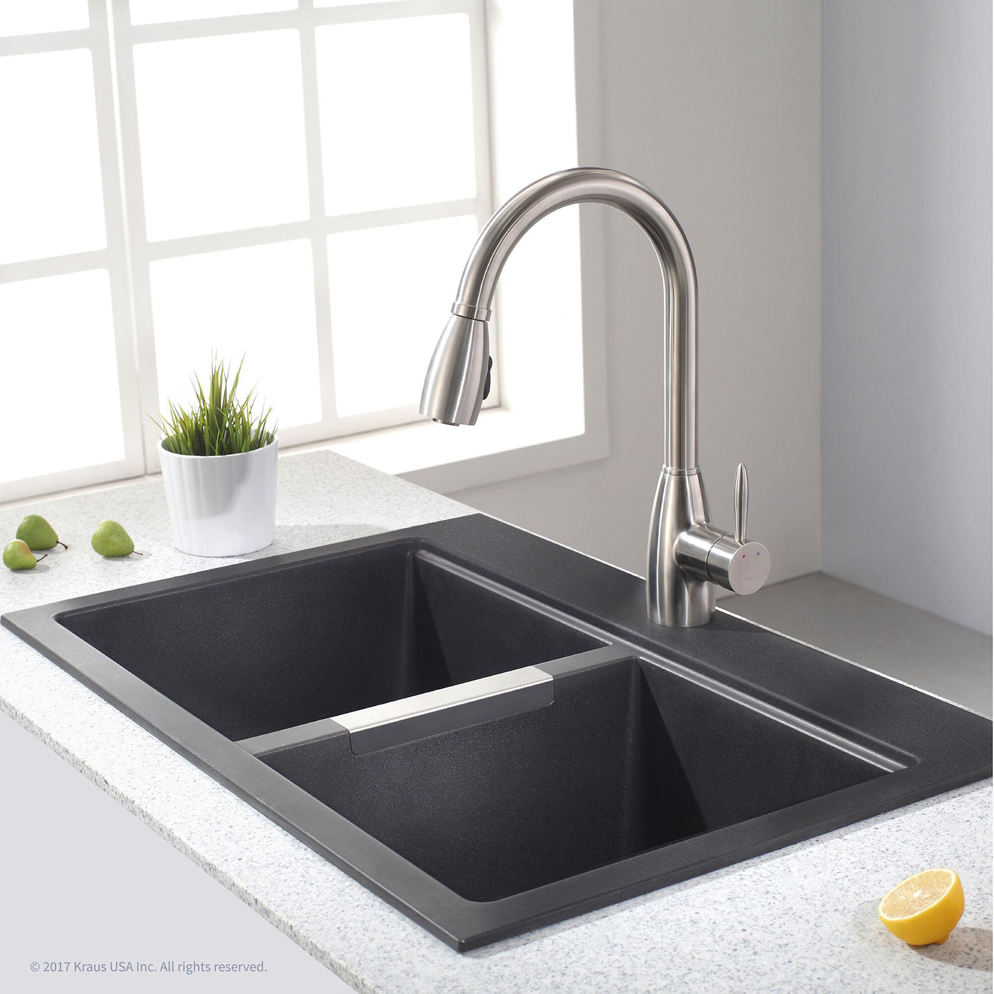 """Kraus Granite 33"""" x 22"""" Double Basin Undermount Kitchen Sink"""
