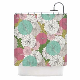 Michelle Drew Parasol Flowers Abstract Single Shower Curtain