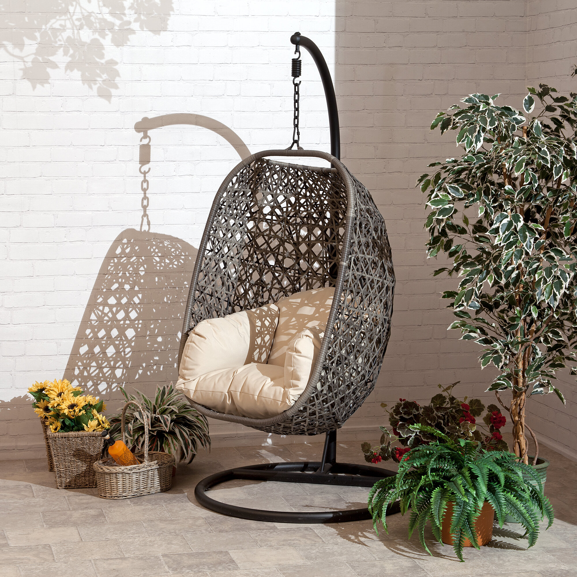 Bungalow Rose Gurganus Cocoon Patio Chair With Cushion Reviews Wayfair