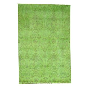 Green overdyed rug Boho Oneofakind Leonidas Cast Overdyed Handknotted Green Area Rug Wayfair Green Overdyed Rug Wayfair